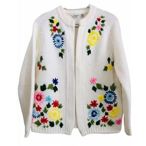 Vintage 60s Embroidered Knit Cardigan Open Front M